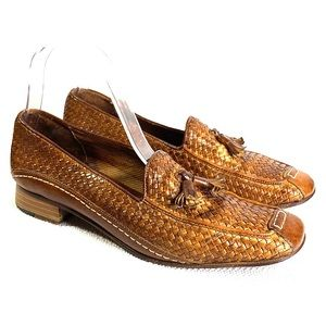 Sesto Meucci Antiqued Leather Woven Tassle Loafers